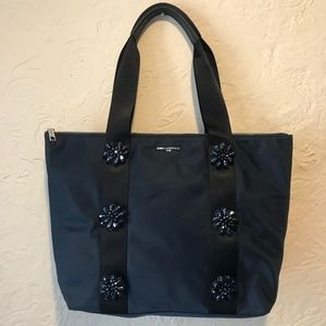 Karl Lagerfeld Navy Nylon Tote with Beaded Flowers